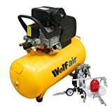 Wolf Sioux 50, 2.5HP, 9.5CFM, 230V, MWP: 116psi, 50 Litre Air Compressor + 13 Piece Spray Air Tool Kit Including Pro Syphon Feed Spray Gun, Tyre Inflator, Long Nozzle Sprayer, Blow Gun, 8 Piece Inflator Set & 5m Air Hose
