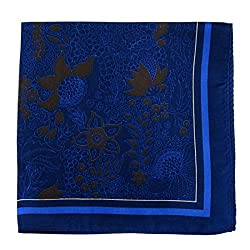 PS-A-668 - Silk Pocket Square - Navy - Brown