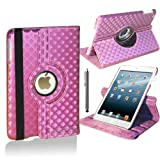 Stuff4 Diamond Designed Leather Smart Case with 360 Degree Rotating Swivel Action and Free Screen Protector/Stylus Touch Pen for Apple iPad Air - Pink