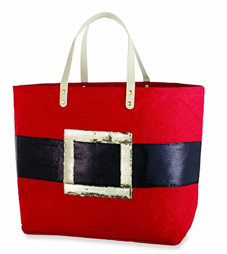 Mud Pie Dazzle Holiday Jute Tote (Santa Belt) (Mud Pie Leather Tote compare prices)
