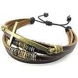 KONOV Jewelry Mens Womens Leather Rope Bracelet, 7-9 inch Tribal Braided Cross Cuff Bangle, Brown