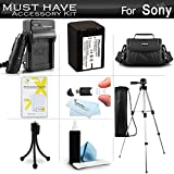 Must Have Accessory Kit For Sony HDR-PJ260V, HDR-PJ200, HDR-PJ670, HDRPJ670/B, FDR-AX33, FDRAX33/B HD Handycam Camcorder Includes Replacement (2300Mah) NP-FV70 Battery + Charger + Case + Tripod + More