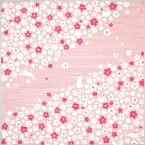 kenema 手捺染小風呂敷 桜うさぎ 50×50cm