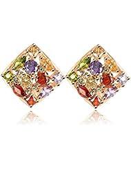 Wearyourfashion Austria Multicolour Gold Plated CZ Zircone Luxury Statement Earrings For Women