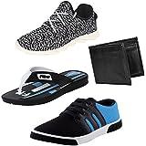 Earton Men Combo Pack Of 4 Sports Shoe With Casual Shoe & Wallet, Slipper