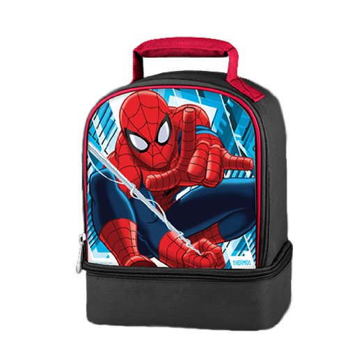 Thermos Marvel SpiderMan Series Double Compartment Soft Insulated Lunch Bag with Image of Swinging Spider-Man (Dimension: 9-1/2 x 7 x 5)