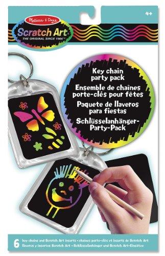 Melissa & Doug 15921 - Paquete de fiesta scratch art: llaveros