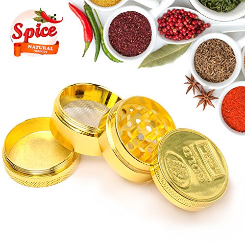 Medium Herb Weed Grinder Spice Tobacco - Four easy to disassemble parts - 2.95 Inches Tall - Premium Grade Aluminum - Smell Proof Herb Container, 54 Razor Sharp Diamond Shaped Teeth (Gold) (Cookies Grinder Weed compare prices)