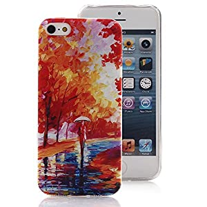 iPhone 5 5S Case, Ludan Painted Series Maple Leaf Super Lightweight Slim Protective TPU Gel Back Case Cover for 4 inches iPhone 5 5S from Ludan