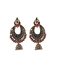 Ganapathy Gems Oxodised Brass Chand Bali With Stud And Jhumka Drop And Orange Drops