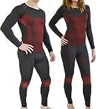 Sport Funktionswäsche Garnitur (Hose + Hemd) für Damen und Herren - Ski Unterwäsche mit Elasthan von normani® Farbe Schwarz/Rot Größe S/M