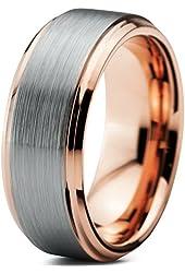 18K Rose Gold Plated Beveled Edge Brushed Polished Tungsten Wedding Band Ring 8mm Comfort Fit