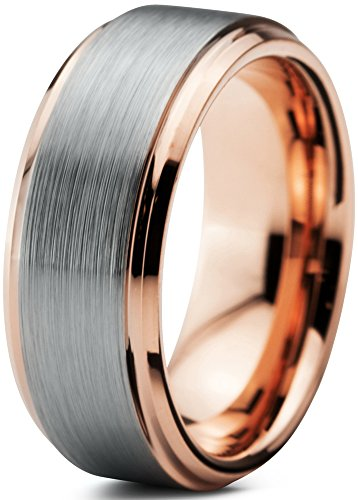 Tungsten Wedding Band Ring 8mm for Men Women Comfort Fit 18K Rose Gold Plated Beveled Edge Brushed Polished Lifetime Guarantee Size 10