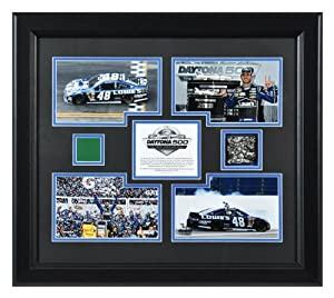 Johnson, Jimmie Framed (2013 Daytona 500) 4-photo track flag - Mounted Memories... by Sports Memorabilia