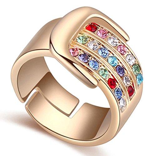 "RI96048C3-7 Fashion ""Love Vows"" Austrian Crystal Gold Plated Ring"