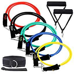 Nestsun Resistance Bands Exercise Resistance Bands Exercise Bands Resistance Strap Fitness Cords Workout Bands for Physical Therapy, Strength Weight Training with Door Anchor, Ankle & Wrist Strap, Bag
