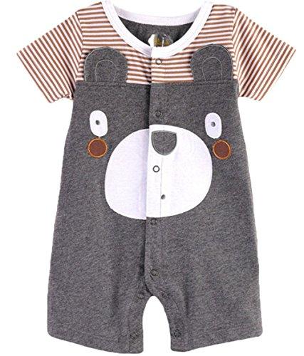 Waboats Bambino Baby Manica Corta Body Pagliaccetto Rampicanti Bear 6-9 Mesi Grigio