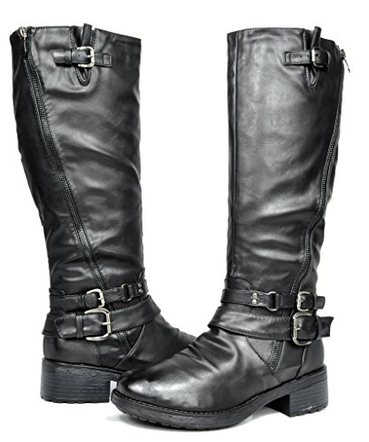 a2cee02fb28 DREAM PAIRS ATLANTA Women s Side Zipper Fur Lined Riding Boots (Wide Calf  Available)