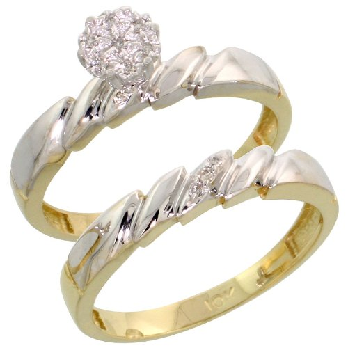 10k Gold 2-Piece Diamond Engagement Ring Set, w/ 0.07 Carat Brilliant Cut Diamonds, 5/32 in. (4mm) wide, Size 5