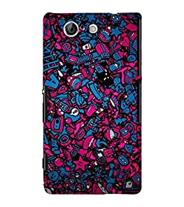 BLUE AND PINK ABSRACT GLOWING PATTERN 3D Hard Polycarbonate Designer Back Case Cover for Sony Xperia Z4 Mini :: Sony Xperia Z4 Compact