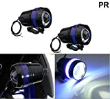PR U3 Headlight Fog Lamp with lens Cree Led with Blue Angel Eye Ring Light (Black, 2Pc) High Beam,Low Beam,Flashing Modes LED Motorycle Fog Light Bike Projector Auxillary Spot Beam Light For Yamaha Saluto