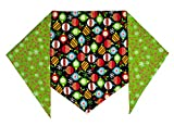 "Christmas Ornaments Dog Bandana (L) Ties on 14"" - 22"" Neck"