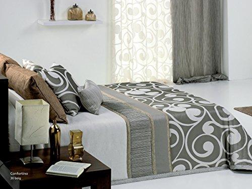 Textilhome - Colcha Bouti OKALA color Beig cama 135cm
