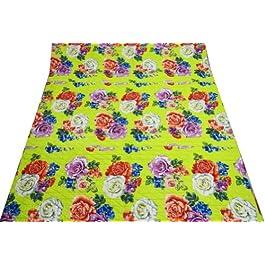 Decorativo Cuna Tamaño algodón Patrón del edredón del bebé floral verde hecho a mano Gudri India 38 X 47 pulgadas;