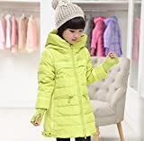 X.N.S(希望) ガールズ ダウンジャケット 子供服 防寒 アウター コート キッズ 女の子 女児用 ダウンジャケット ロング丈ダウンコート (120cm, GREEN)
