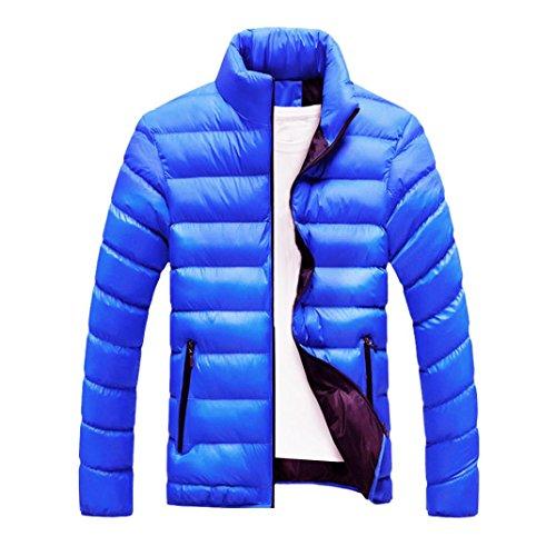 giacca da uomo, casual sottile caldo spessore cappotto parka cappotto con cappuccio (XXXL, Blu1)