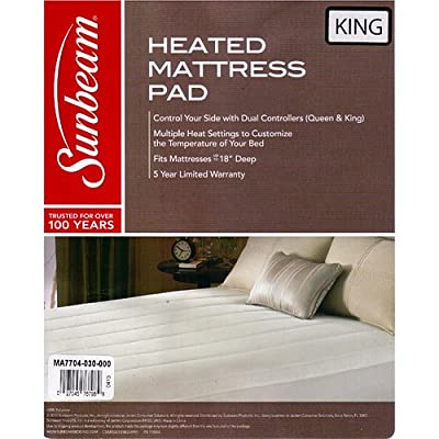 Sunbeam Thermofine Quilted Striped Heated Electric Mattress Pad King Size