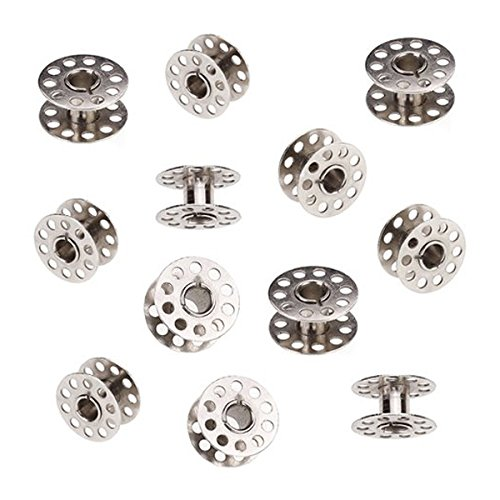 Tinksky 20pcs 20mm Diameter Sewing Machine Metal Bobbins for Brother Singer Toyota Janome (Silver)