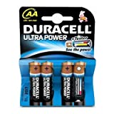 Duracell Ultra Power AA 4 Pack; Alkaline; Cylindrical; 1.5 V; AA; Black; 96 g (MX1500B4)