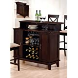 Coaster Contemporary Style Solid Wood Bar Unit with Wine Rack, Deep Cappuccino Finish