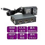 ハイビジョンHDMI切替器 4K60Hz対応 3入力1出力 リモコン付【HSW31-4K60】