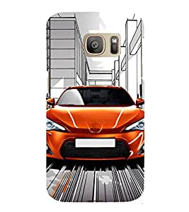 Fuson Premium Back Case Cover Stylish Car With Brown Background Degined For Samsung Galaxy S7::Samsung Galaxy S7