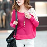 Loose Batwing Sleeve Pullover Knitting Shirt Knitted Sweater Coat Tops Jumper (Rose Red)