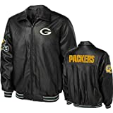 Green Bay Packers Men's Faux Leather Jacket, Black, Small Amazon.com