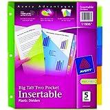 Avery Big Tab Two-Pocket Insertable Plastic Dividers, 5-Tab Set (11906)