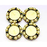 BEAUTIFUL FESTIVE T- LIGHT HOLDER WITH ARTIFICIAL PEARL DROPS - SET OF 4 PCS