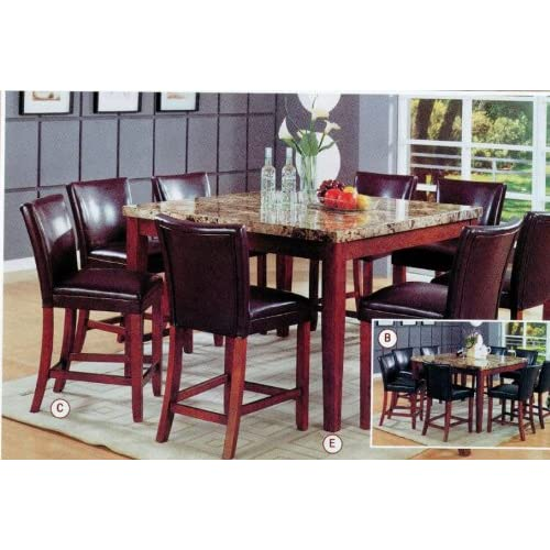 Coaster classy marble top square dining table for Best table for small square dining room