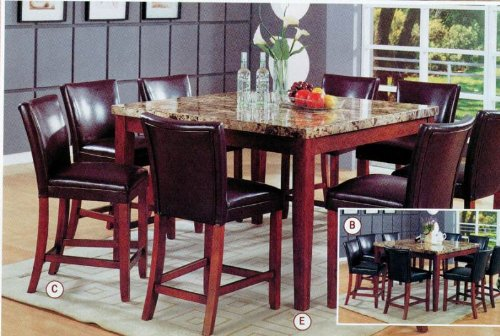 Coaster Classy Marble Top Square Dining Table, 36-Inch Height
