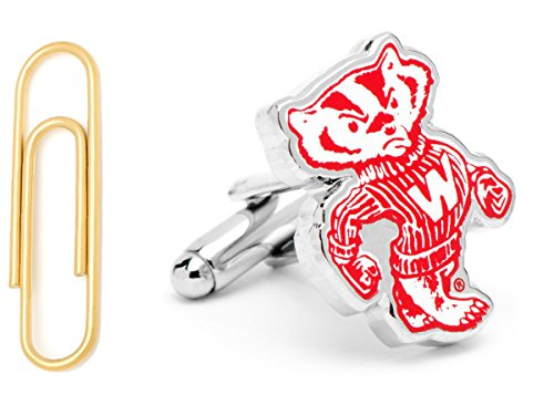 Vintage University Of Wisconsin Badgers Cufflinks With Gold Stainless Steel Paper Clip Money Clip