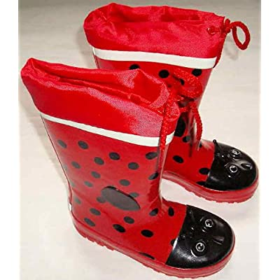 Girls Wi8 Slip On Red Ladybird Rubber Wellingtons