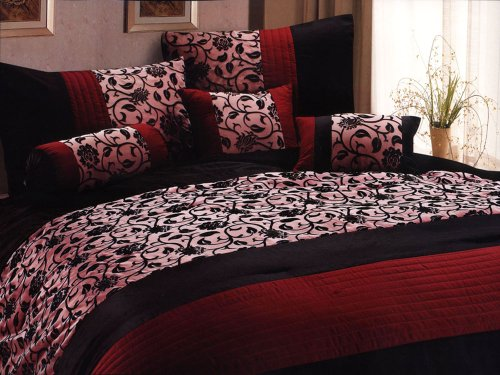 7-Pc Classy Floral Motif Comforter Set Burgundy Black Goth Gothic Vampire Queen back-591604
