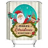 Vidlan-Weihnachten-Wasserdicht-Badezimmer-Duschvorhang-Haken-180180cm-B