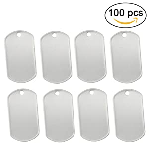 Orgrimmar 100 pcs Shiny Stainless Steel Military spec Rolled Edge Backing Dog Tags - Blank (Pack of 100) (Tamaño: Pack of 100)