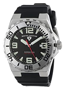 "Swiss Legend Men's 10008-01SET ""Expedition"" Stainless Steel, Black Silicone, and Black Dial Watch Set"