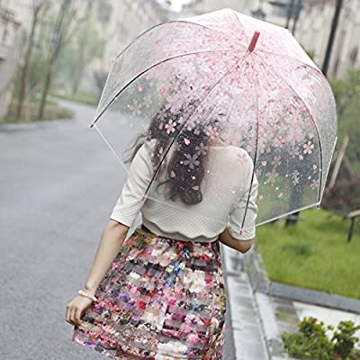 CrazySell Bubble Umbrella Romantic Pink Cherry Clear Rain Wind Dome Shape Umbrella Half-Automatic