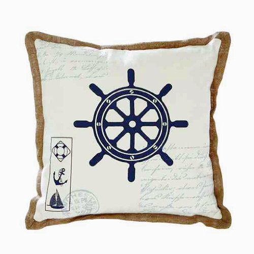 Benzara Fabric Pillow With Ship Wheel Design And Light Brown Outline front-332687